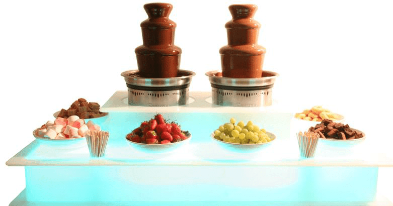 twin surround LED kleine chocoladefonteinen